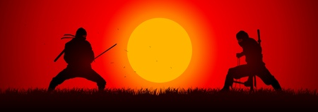 samurai warrior: Silhouette illustration of two ninjas in duel  Illustration