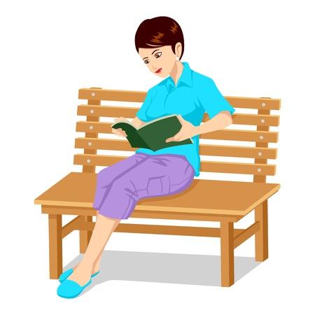 탁상: 책을 읽고 벤치에 앉아있는 여자 일러스트
