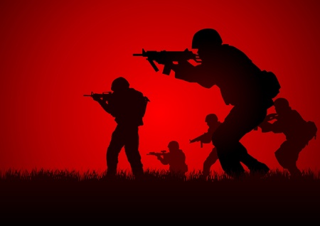 military silhouettes: Silhouette illustration of a group of soldiers in assault formation