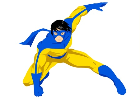 a superhero with mask in action posing  Vector