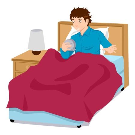 cansancio: Una figura de hombre sosteniendo un reloj con un rostro sorprendido porque despertar tard�o