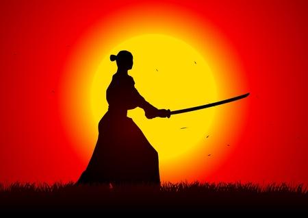 guerrero samurai: Una postura de samurai con la puesta del Sol como fondo