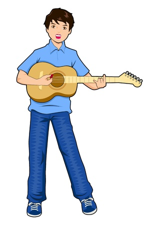 guy playing guitar: a teenager playing guitar  Illustration
