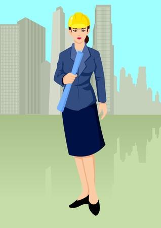 Vector illustratie van een architect die een blauwdruk met gebouwen plaats als achtergrond