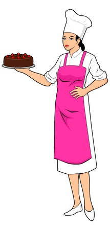 a chef holding a chocolate cake  Illustration