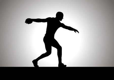 Silhouette illustration of discus thrower Vector