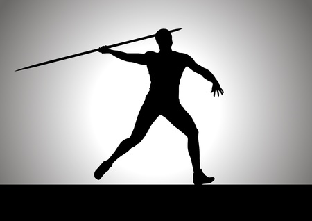 javelin throw: Silhouette illustration of javelin thrower