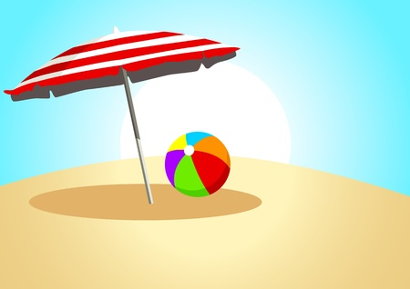 a plastic ball and a parasol  Vector