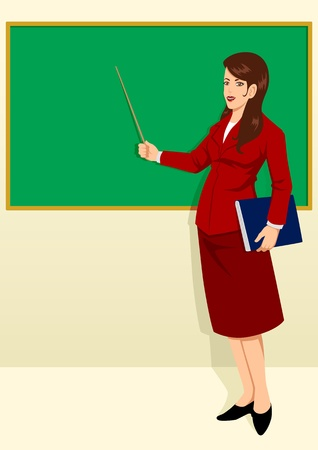a teacher in front of the classroom  Illustration