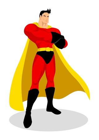 Illustration of a superhero in gallant pose  Ilustração