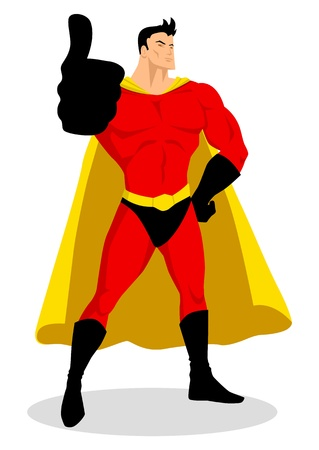 Illustration of a superhero doing thumbs up  Vector