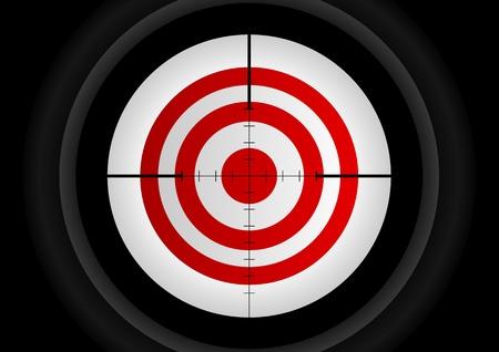 bullseye: Illustration eines Gewehr-Objektiv mit dem Ziel ein Ziel