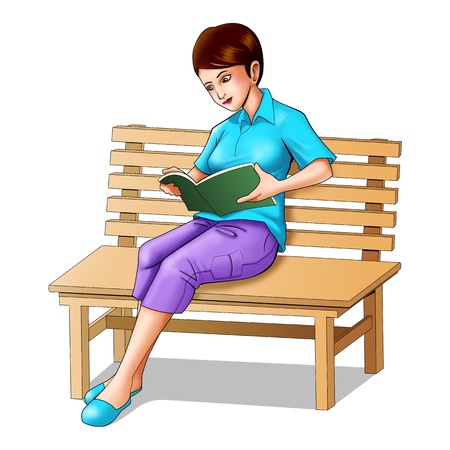 garden bench: Airbrushe illustration of a girl sitting on a bench reading a book  Stock Photo