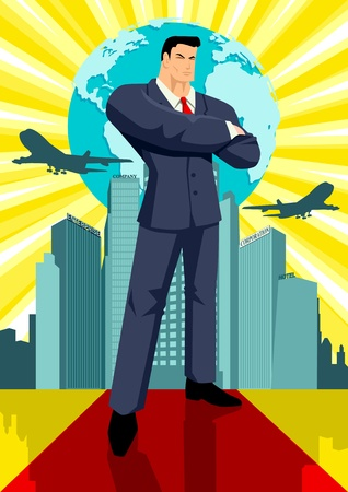 firms: Illustration of a man in business suit standing in front of buildings and a globe