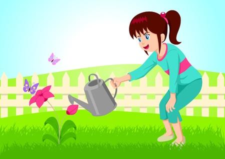 Cartoon illustratie van meisje het besproeien van de bloem.