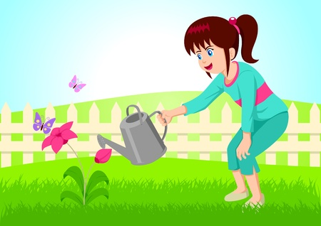 woman gardening: Cartoon illustration of little girl watering the flower.