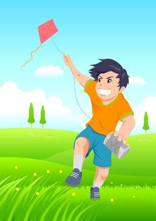 Cartoon illustration of a boy playing a kite. Illustration