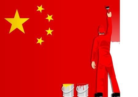 reformation: Illustration of a man figure painting the flag of People Republic Of China  Illustration