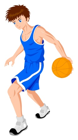 anime young: Cartoon illustration of a teenager playing basket ball