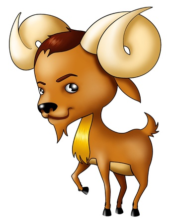 rams horns: Airbrushed Illustration of Aries symbol in cartoon style