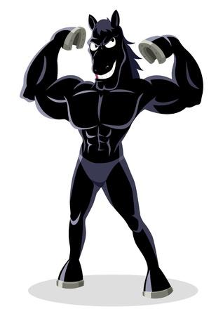 testépítő: Cartoon illusztrációja egy izmos csődör
