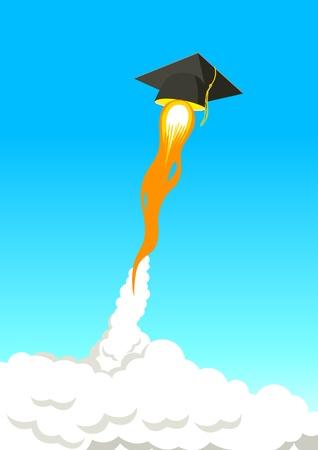 booster: Educaci�n Go Further, simbolizan con tapa cuadrada acad�mica vuela alto con el cohete