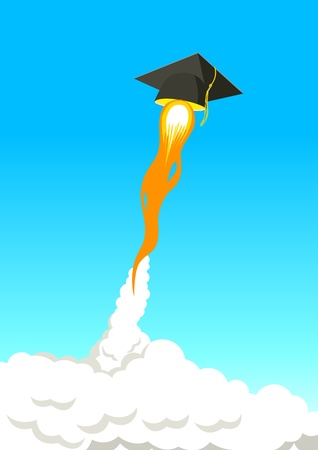 Education Go Further, symbolize with square academic cap flying high with rocket booster Vector