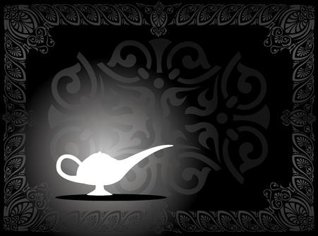 an oil lamp: Ilustración de una lámpara mágica