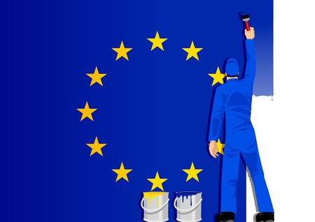 reformation: Illustration of a man figure painting the flag of European Union