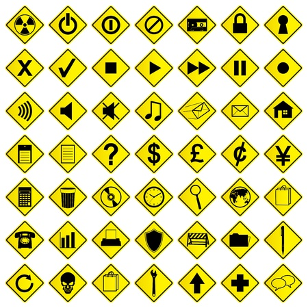 A set of road sign computer icons  Vector