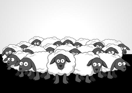 zwart schaap: Cartoon illustratie van de kudde schapen