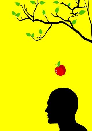 denker: illustratie van een appel valt het ochtendgloren tot het hoofd Stock Illustratie