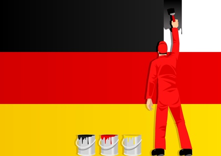 reformation: Illustration of a man figure painting the flag of Germany
