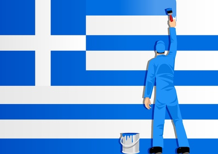 Illustration of a man figure painting the flag of Greece Stock Vector - 10669917