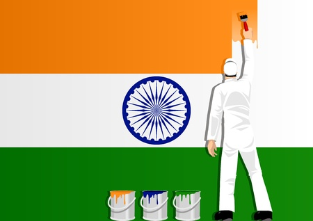 indian paint brush: Illustration of a man figure painting the flag of India