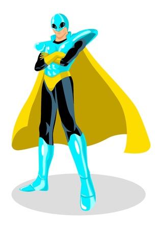 hierro: Balance de un superhéroe con traje espacial  Vectores