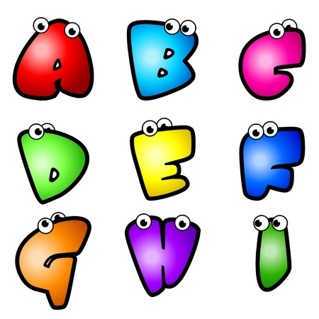 A set of cartoon font type, letter A to I  Vector