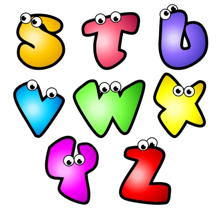 A set of cartoon font type, letter S to Z  Vector