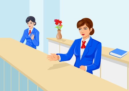 cartoon bank: Women with uniform at the front office
