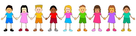 bambini che suonano: illustrazione di bambini provenienti da diversi gruppi etnici Vettoriali