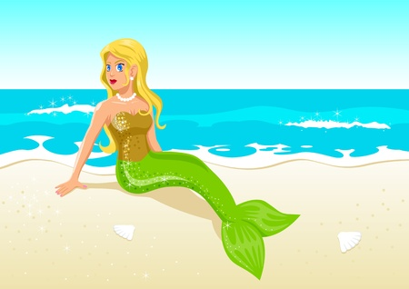 A mermaid at the beach Vector
