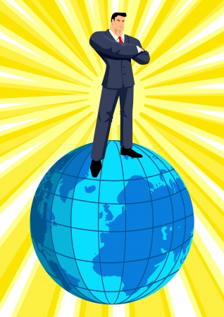 conqueror: A businessman standing on top of the world Illustration