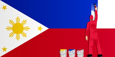 philippines: Illustration of a man figure painting the flag of Philippines Illustration