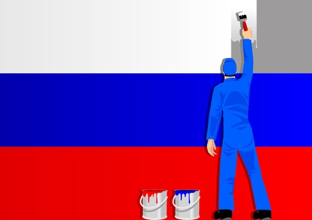 reformation: Illustration of a man figure painting the flag of Russia Illustration
