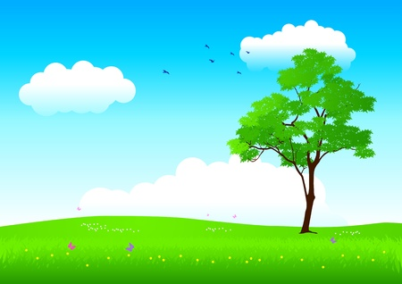 Vector illustration of a tree in springtime