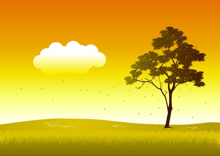 Vector illustration of a tree in autumn