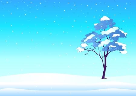 snow field: illustration of a tree in wintertime