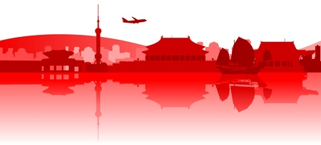 shanghai skyline: Illustration of famous buildings and monuments in East Asia