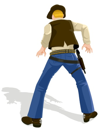 game gun: Vector illustration of a cowboy in duel position