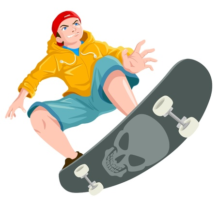 Illustration of a teenager playing skateboard